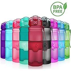 KollyKolla Botella de Agua Deporte, Botellas Sin BPA Tritan Plástico Reutilizables Ecológica con Filtro, Water Bottle para Niños & Adultos, Gimnasio, Yoga, Oficina, Colegio (500ml Rojo Oscuro Mate)