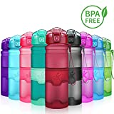 KollyKolla Trinkflasche, BPA-frei Auslaufsicher Sport Wasserflasche, 500ml Tritan Sportflasche Kohlensäure Geeignet Kunststoff mit Filter für Kinder, Schule, Mädchen, Fahrrad, Gym, Matte Dunkelrot
