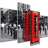 """Bilderdepot24 Cuadros en Lienzo """"Cabina de teléfono rojo en Londres"""" - 120x80 cm 4 piezas - Enmarcado listo Bastidor imagen. directamente desde el fabricante"""