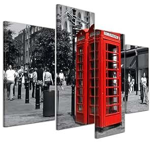 bilderdepot24 kunstdruck rote telefonzelle in london bild auf leinwand 120x80 cm 4 teilig. Black Bedroom Furniture Sets. Home Design Ideas