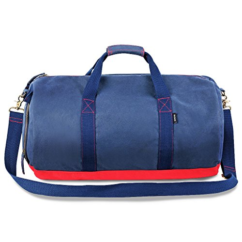 Oflamn Travel Duffel Bag - Sports Gym Bag with Shoe Compartment - Canvas Weekend Holdall for Women & Men (Blue)