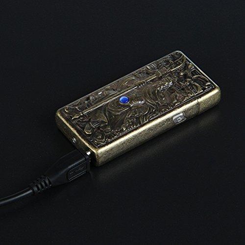 Kivors® Elektronisches Feuerzeug tragbar USB aufladbar dopple Lichtbogen (chinesischen antiken Helden Guanggong) -