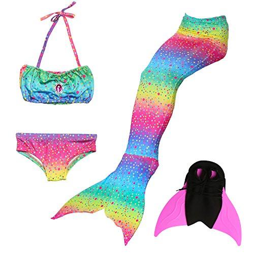 (Das beste Mädchen Bikini Badeanzüge Schönere Meerjungfrauenschwanz Zum Schwimmen mit Meerjungfrau Flosse Schwimmen Kostüm Schwanzflosse - Ein Mädchentraum- Gr. 120, Farbe: Mehrfarbig)