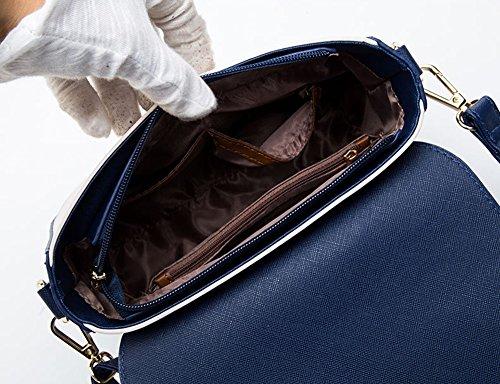 Pacchetto moda estiva, versione coreana dello zaino obliquo semplice selvaggio, borsa a tracolla mini studenti ( Colore : White+dark blue ) Beige