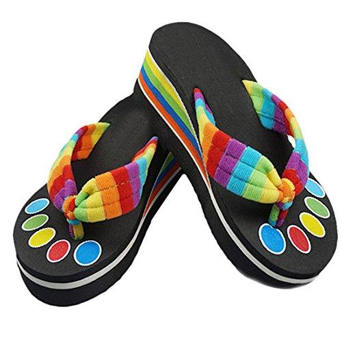 Amlaiworld Pantofole colorate di modo di estate con i sandali alto-con tacco nero