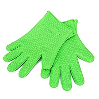 Apgstore 1 Paar Silikon Grillhandschuhe Ofenhandschuhe hitzebeständig BBQ Handschuhe