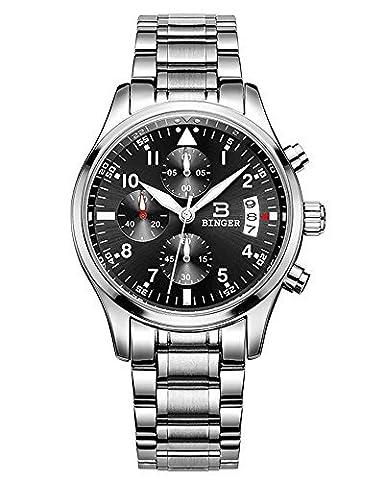 Binger Sport Herren-Quarz-Uhr mit schwarzem Zifferblatt Chronograph Display und Edelstahl-Armband (Chronograph Metal-band)