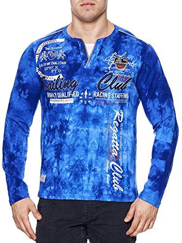 Herren verwaschen Longshirt | Sweatshirt mit Langen Ärmeln | Sailing Club Camp Vlnt Design (5XL-Slim fit, Blau 859) - Club-camp-shirt