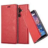 Cadorabo Hülle für Nokia 7 Plus - Hülle in Apfel ROT - Handyhülle mit Magnetverschluss, Standfunktion & Kartenfach - Case Cover Schutzhülle Etui Tasche Book Klapp Style