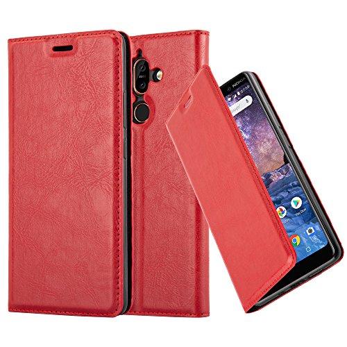 Cadorabo Hülle für Nokia 7 Plus - Hülle in Apfel ROT - Handyhülle mit Magnetverschluss, Standfunktion und Kartenfach - Case Cover Schutzhülle Etui Tasche Book Klapp Style -