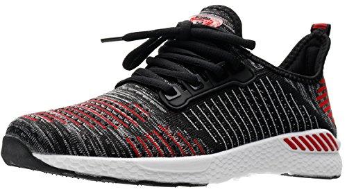 JOOMRA Damen Fitness Atmungsaktives Mesh Turnschuhe Freizeitschuhe Sportschuhe Laufschuhe Günstige Schuhe Straßenlaufschuhe Training Mädchen und Jungen Sneaker Rot, Schwarz, Weiß 36 EU (37 Asien)