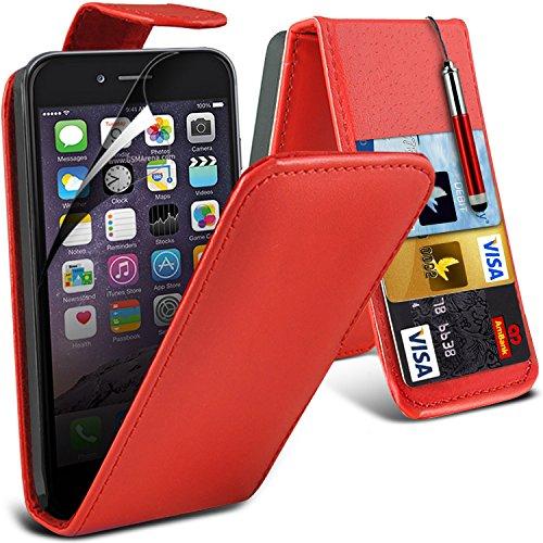 Spyrox Elégant haut de gamme BookStyle PU Portefeuille en cuir flip Avec 3 Crédit couverture de peau Slot Case / carte de débit Avec écran LCD Protecteur & Chiffon Pour Apple Iphone 6 4.7 inch FLIP rouge + stylo