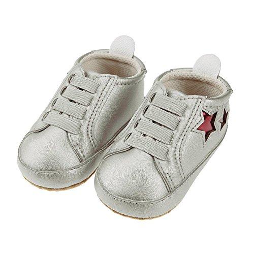 Pentagram Baby Prewalker Shoes Elastic PU First Walkers(Silver Grey 11cm)