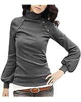 DJT Blouse longue manche lanterne chandail tunique T-shirt basique Débardeur bouffée Japan Style- Hauts - Femme