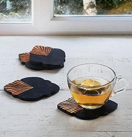 Store Indya, Ensemble de 4 Dessous de verre en bois avec incrustation de feuille de cuivre et support de Sous verres pour l'ustensile de cuisine