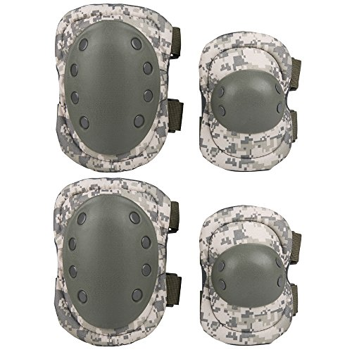 Uzexon Adult Youth 4PCS Knee Elbow Pads Guards Protective Gear Sets for Inline Roller Skating Biking Cycling Scooter Skateboard BMX Mountain Bike Rollerblade Extreme Sports (ACU Digital Camouflage-4PCS)