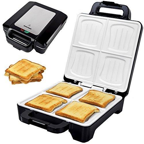 Syntrox Germany 1600 Watt XLC Muschel Sandwichmaker mit Keramikbeschichtung zur Herstellung von 4 Sandwiches gleichzeitig