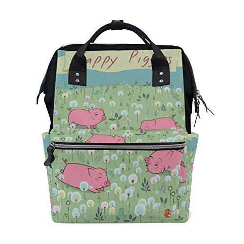 tizorax Happy Meerschweinchen auf der Blüte Field Windel Rucksack Große Kapazität Baby-Bag Multifunktions-Wickeltaschen Mom Rucksack Reisen für Baby Care (Papa Field Bag)