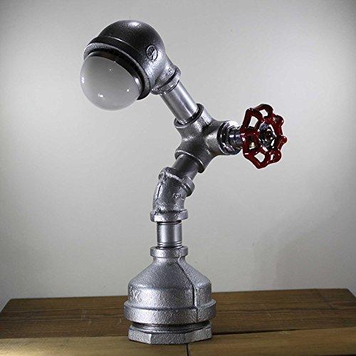 Pointhx Industrielle Wasserpfeife Metall Schreibtisch Akzent Licht Loft Antike Energiesparende LED Nacht Lampe Lesen Roboter Tischlampe Leuchte für Nachttisch Nachttisch Cafe Bar (Drehschalter) ( Color : Silver ) (2 Glas Quadrat Vase)