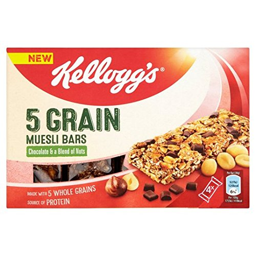 5 Grain Muesli Bar Chocolat Kellogg & Nuts 4 x 30g