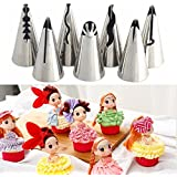 SYGA Cake Decorating Nozzle Set Of 7, Stainless Steel Russian Nozzle For Decorations