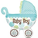 paduTec Ballon XXL Folienballon Luftballon - Babyshower Kinderwagen Babywagen Baby Boy Junge - Geburt Babyparty Krankenhausbesuch Mitbringsel Deko - geeignet zur befüllung mit Luft oder Helium Gas