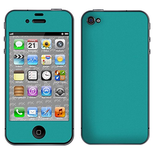 "Skin Apple iPhone 4 / 4s ""FX-Brushed-Black"" Designfolie Sticker FX-Soft-Turquoise"