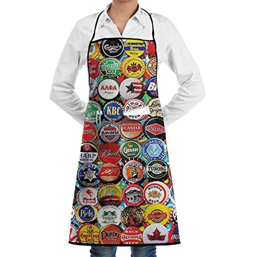 QIAOJIE Beer Bottle Caps Retro Aprons Kitchen Chef Bib - Professional for BBQ Baking Cooking for Men Women