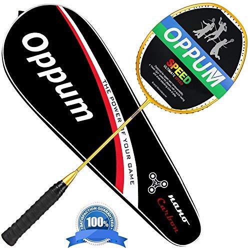 OPPUM Graphit Badminton Racket Integral Zierleiste Craft Full Carbon Faser Material Leicht, 1Spieler Badminton Schläger, Gold -