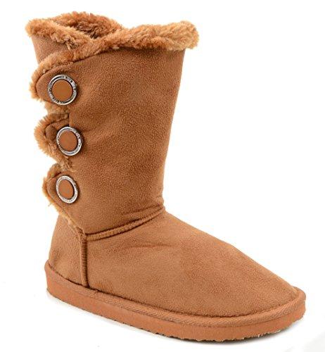 Funky Fourever da donna, con pelliccia, caldo, in pelle scamosciata sintetica Slipper Boots Marrone (Cammello)