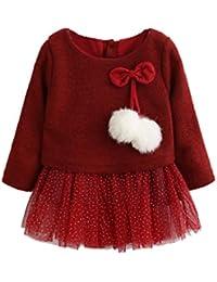 Ropa bebé Amlaiworld Recién Bebé Niñas Manga larga Tutú princesa vestido (18-24 Mes, Rojo)