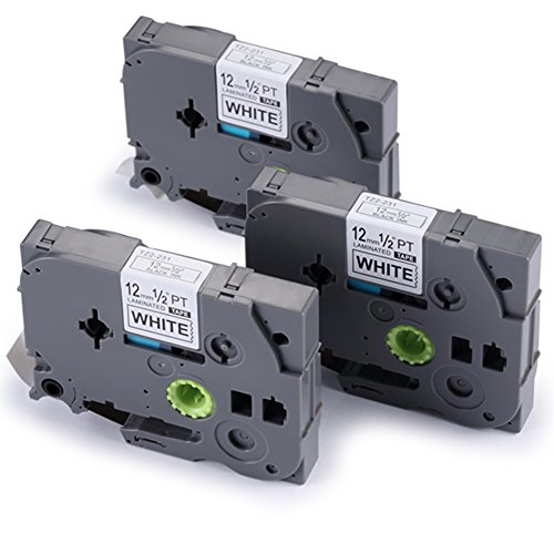 3 x Kompatibel Brother TZ TE TZE 231 Laminiertes Etikettenband Schriftband 12mm x8m Schwarz auf Weiß P-Tocuh für 1000W 1010 1080 1830 1090