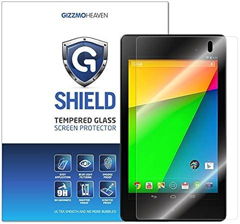 """GizzmoHeaven ASUS Google Nexus 7 (2nd Gen/2013 Editon) (7"""") Tablet G-Shield Film protecteur d'écran en verre trempé anti-rayures extrêmement clair dureté 9H 0,33mm"""