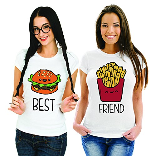 Coppia Di T Shirt Magliette You And Me Best Friend Fast Food Bianche Donna Best S Donna Friend S