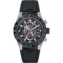 TAG Heuer Carrera reloj para hombres esqueleto Dial W/Negro Goma correa car201 V.