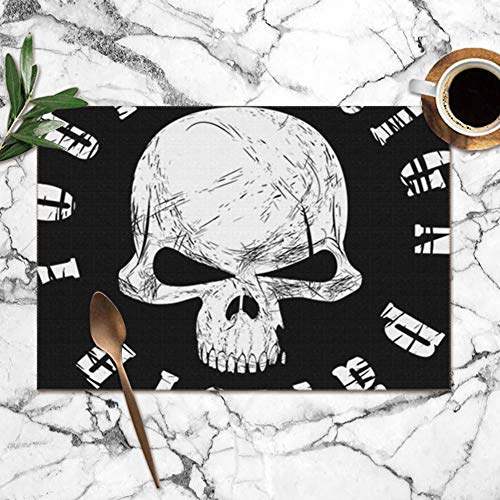 d43075dcf3e6a Nicegift Placemats Set of 6,Design Tshirt Print Skull Components  Alternative Miscellaneous Heat-Resistant Placemats Washable Table Mats For  Kitchen ...
