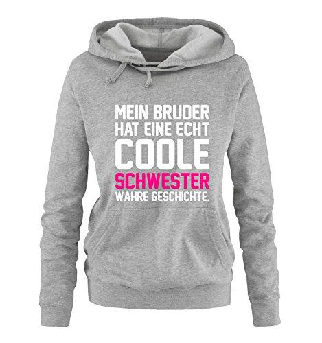 Bruder Hoodie (Comedy Shirts - Mein Bruder hat eine echt coole Schwester wahre Geschichte. - Damen Hoodie - Grau / Weiss-Pink Gr. M)