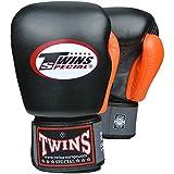 Twins Special Boxhandschuhe, Leder, BGVL-4, schwarz-orange Größe 12 Oz