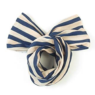 DealMux Lady Dark Blue Beige Striped Pattern Both Ends Bowknot Design Head Band