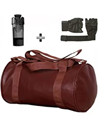 Brown Leather Gym Bag , Gloves And Black Cyclone Shaker Shaker Bottle Combo Pack For Men|Women A Must Have Gym...