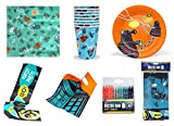 Official BBC DOCTOR WHO - Complete Part Set - Paper Cups, Plates, Napkins, Tablecloth, Party Banner, Loot Bags & Candles