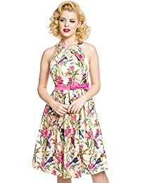 Lindy Bop Cherel Pink Tropical Bird Print Swing Dress
