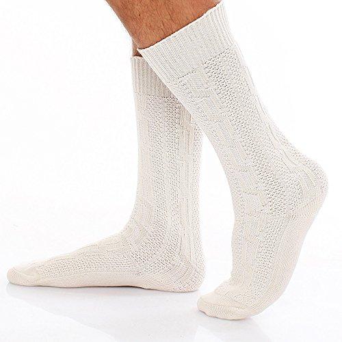 96V5 Trachten Socken Kniestrümpfe Trachtensocken Weiß Gr. 43