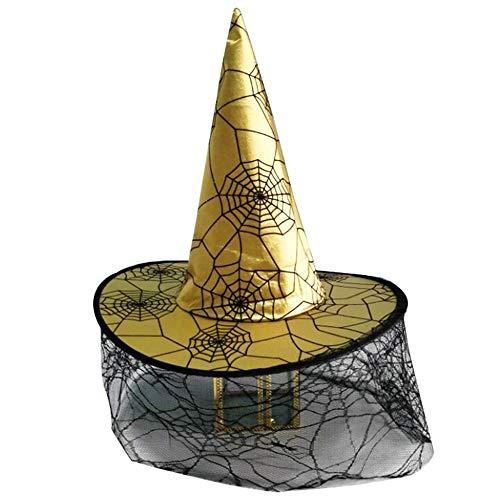 Bolange Halloween Hut Hexenhut, niedliche Spinnennetz Schleier Hexenhut Halloween Party Dekoration (gelb)