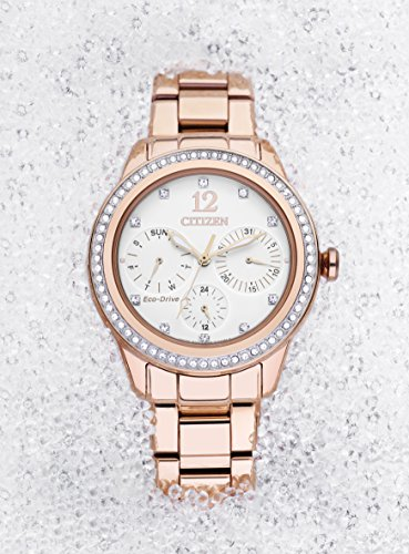 Citizen Watch Silhouette Crystal Women's Quartz Watch with White Dial Analogue Display and Rose Gold Stainless Steel Gold Plated Bracelet Fd2013-50A