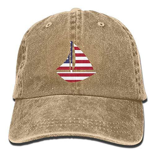 Distressed Stars Stripes Sailboat Sailing Adventure Vintage Washed Dyed Cotton Twill Low Profile Adjustable Baseball Cap Black cap logo -