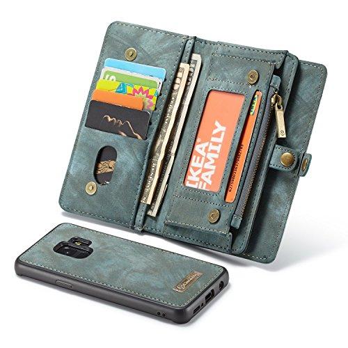 Leder Tri-fold Brieftasche (Cicongzai Ultimate Functional All-In-One Handgefertigte Trifold Leder Abnehmbare Brieftasche Elegant Finish Case Cover für Samsung Galaxy S9 (Color : Blue))