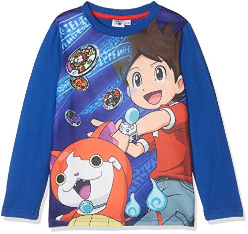 Yokai Watch LS T-Shirt, Top de Manga Larga Para Niños, Azul (Dark Blue), 10 Años