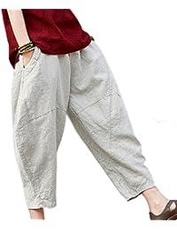 huateng Pantaloni di Lino in Vita Elastica in Vita Stile Cinese retrò da Donna  Pantaloni in Stile Harem Carota in Tinta… f5601ddb84ba