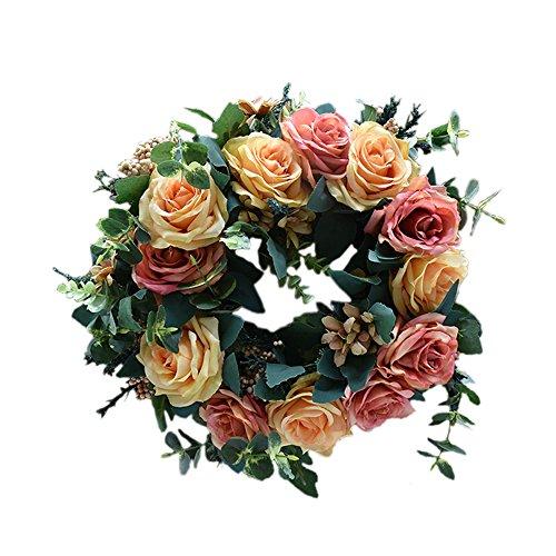 Blumen-Bouquet Dekoration, Tür-Kranz aus Rattan, handgefertigt, aus Rattan, ideal für den Außenbereich im Herbst, Winter, Frühling und Sommer, Champagner-Rosa - Champagner-frühling